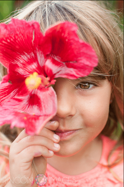 Family photo girl with hibiscus flower