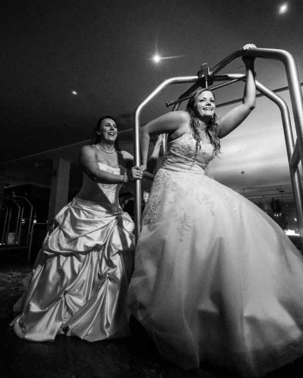Two brides having fun at gay wedding in Puerto Rico