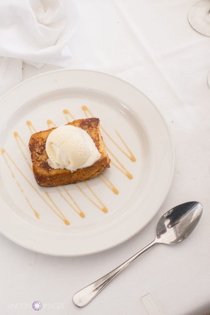 French toast with iceream and a silver spoon