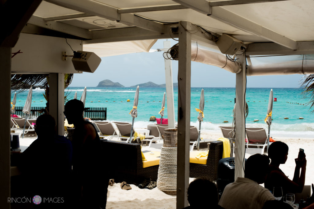 View of the beach from inside of restaurant La Plage at Toms beach in St Barth