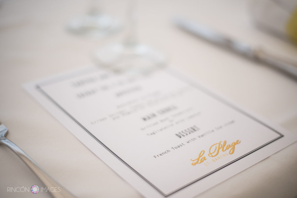 Wedding Luncheon menu from La Plage St Barths