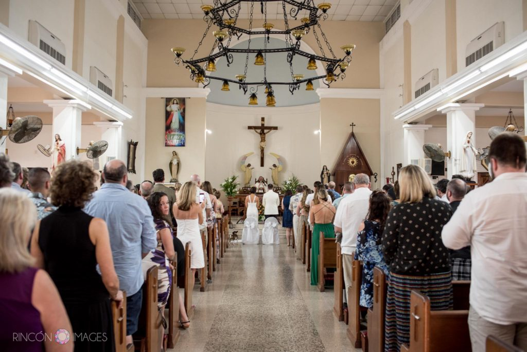 Photograph of the inside of the church in Rincon, Puerto Rico during the wedding ceremony
